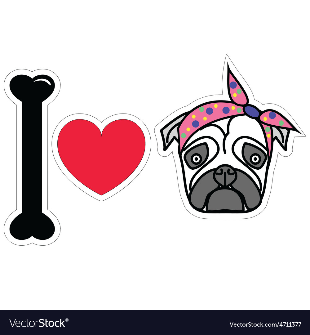 I love pug female pug with tie scarf vector | Price: 1 Credit (USD $1)