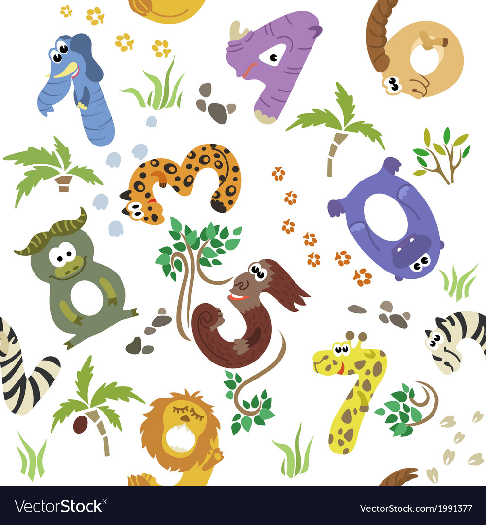 Numbers like african animals seamless pattern vector | Price: 1 Credit (USD $1)