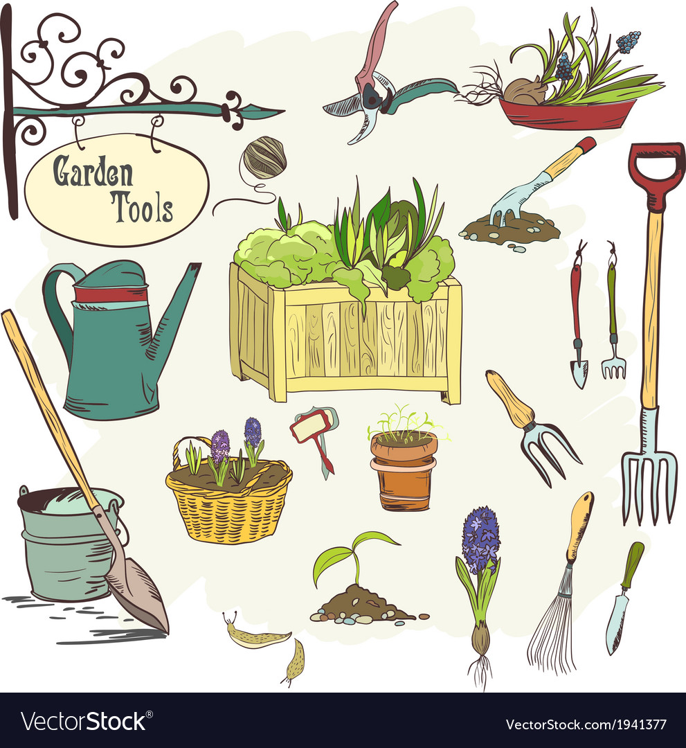 Sef of gardening tools vector | Price: 1 Credit (USD $1)