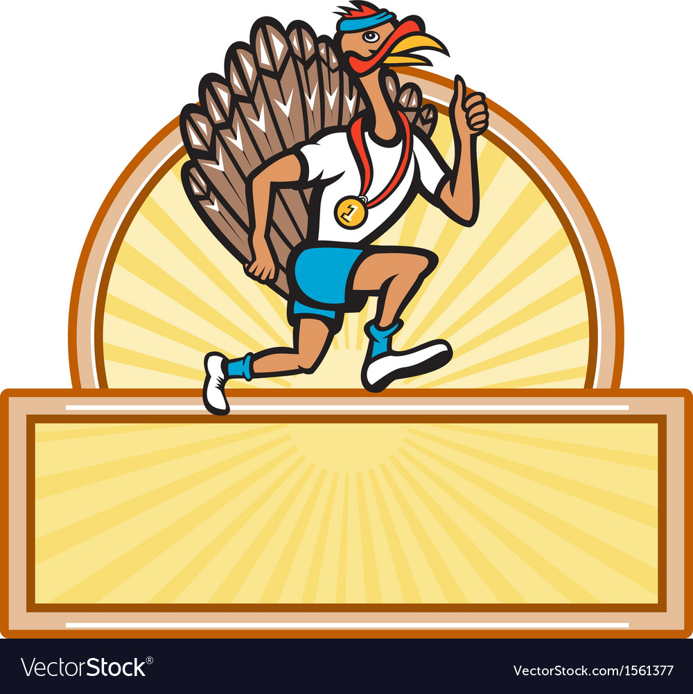 Turkey run runner side cartoon isolated vector | Price: 1 Credit (USD $1)