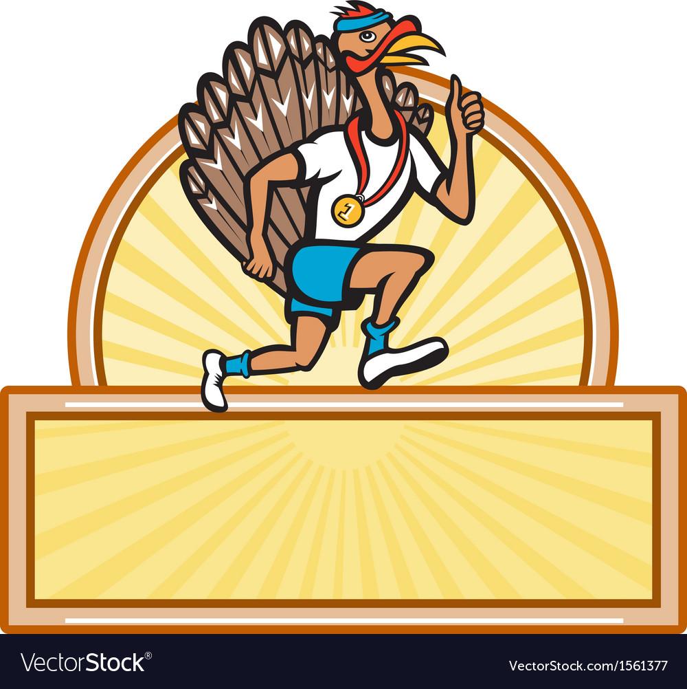 Turkey run runner side cartoon isolated vector | Price: 1 Credit (USD $1)