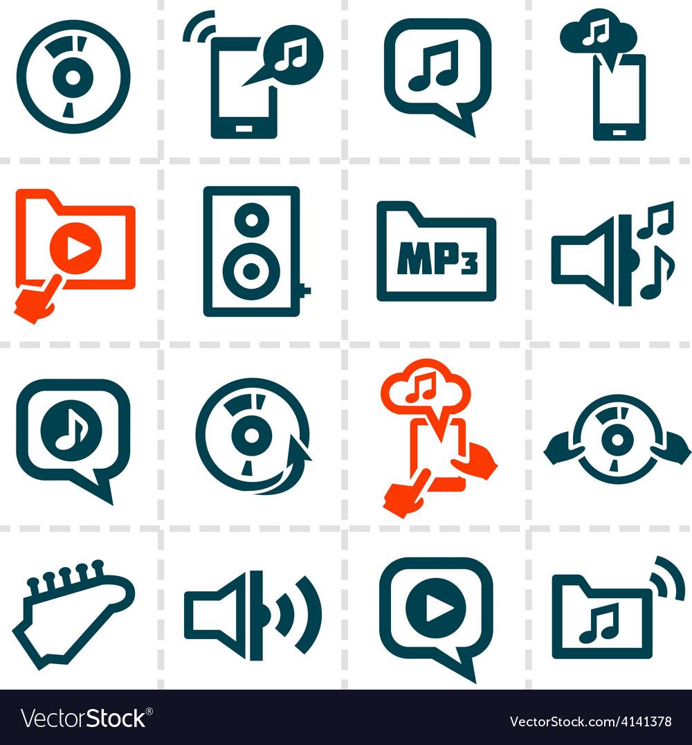 Audio line icons vector | Price: 1 Credit (USD $1)