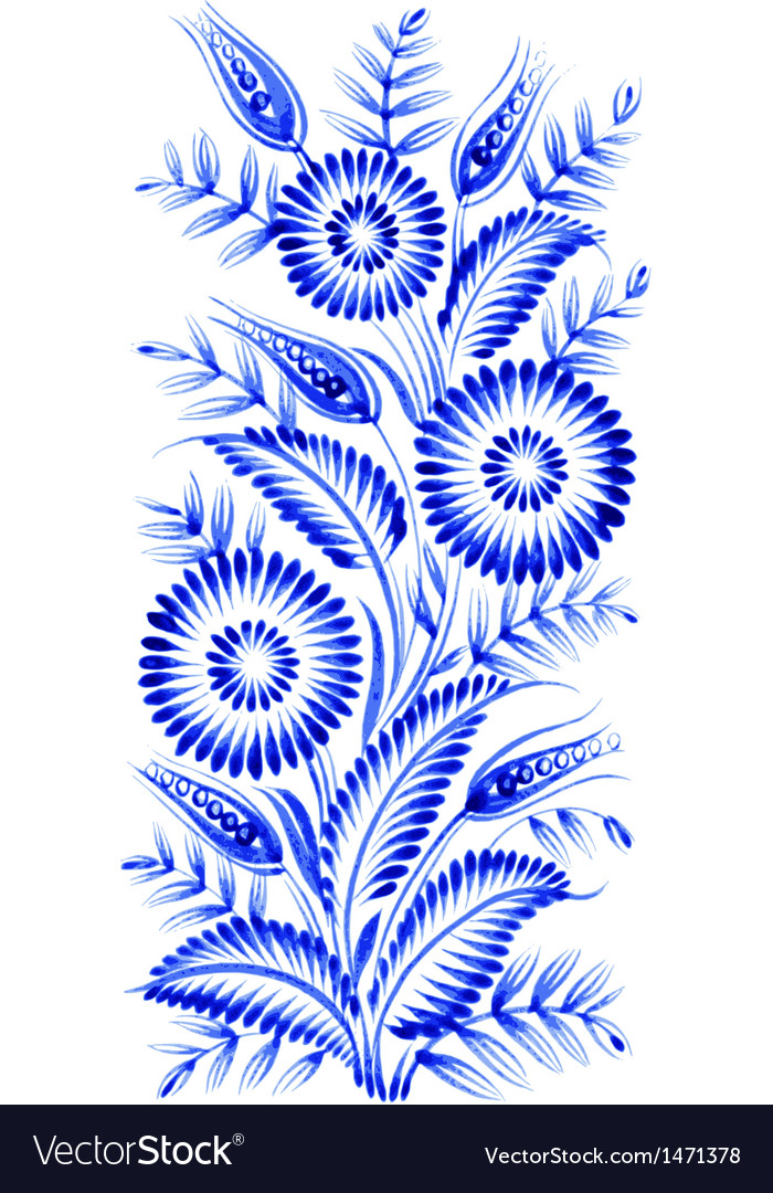 Blue flower composition vector | Price: 1 Credit (USD $1)