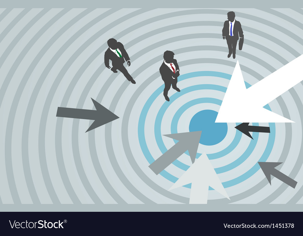 Business people arrows target marketing center vector