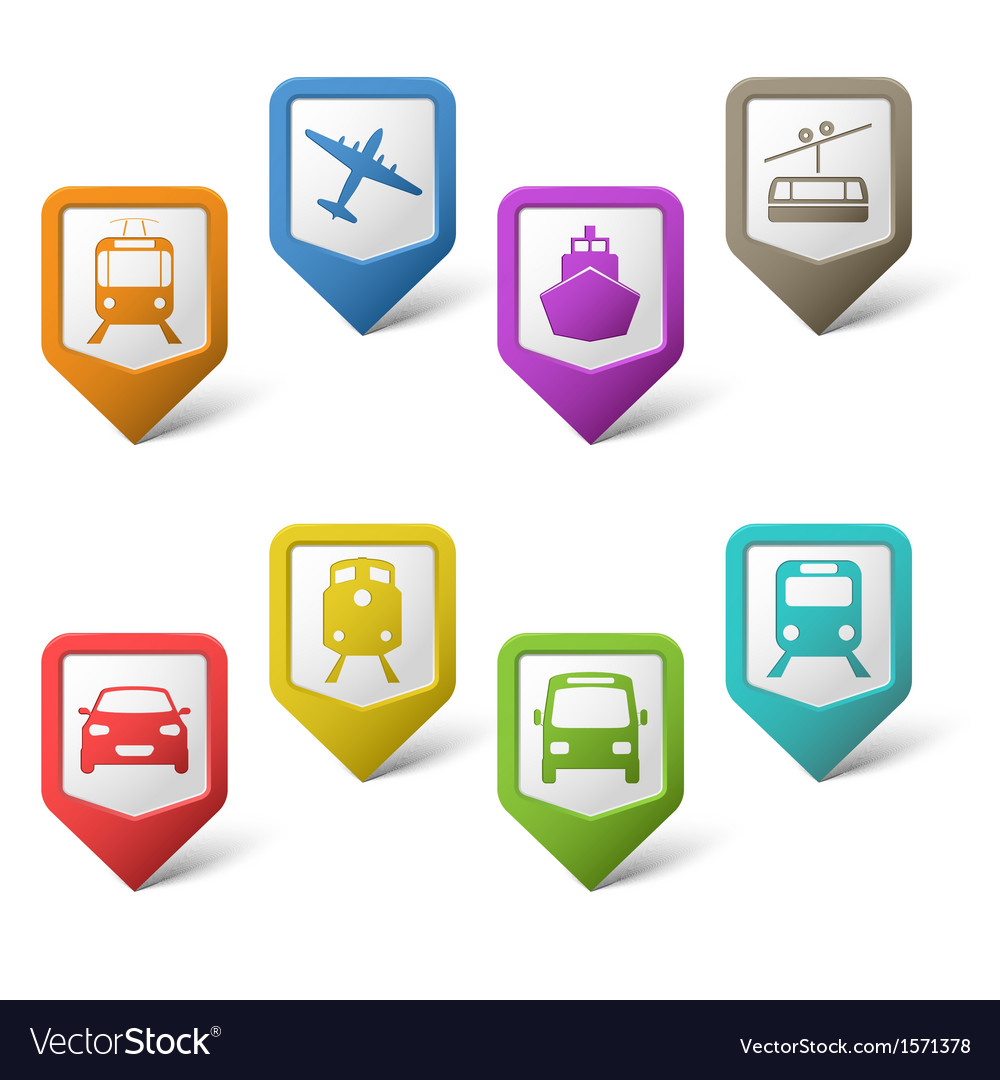 Colorful set pointers for transport vector | Price: 1 Credit (USD $1)