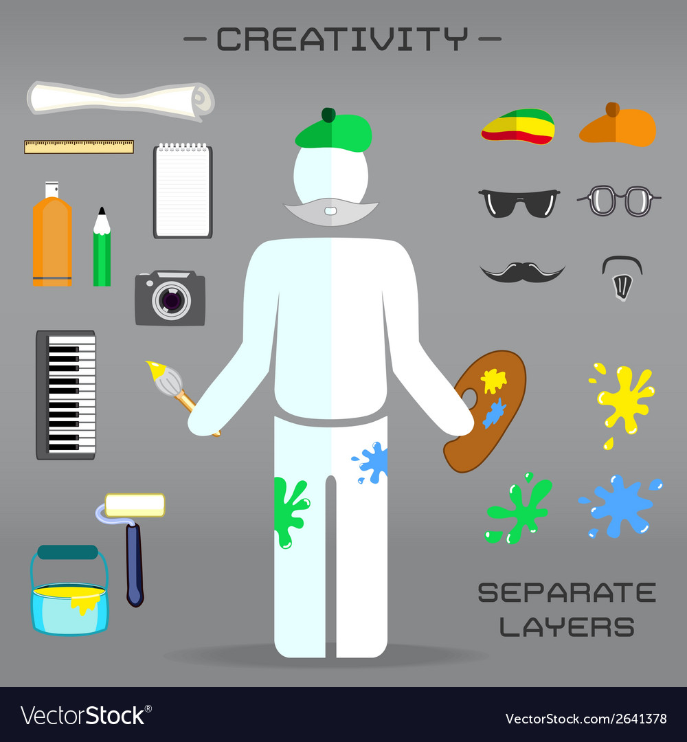Creative set of artist vector | Price: 1 Credit (USD $1)