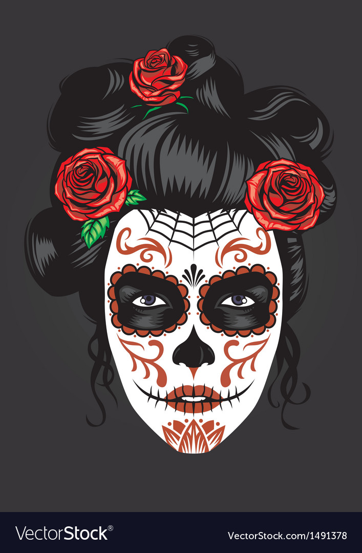 Day of the dead girl make up vector | Price: 1 Credit (USD $1)