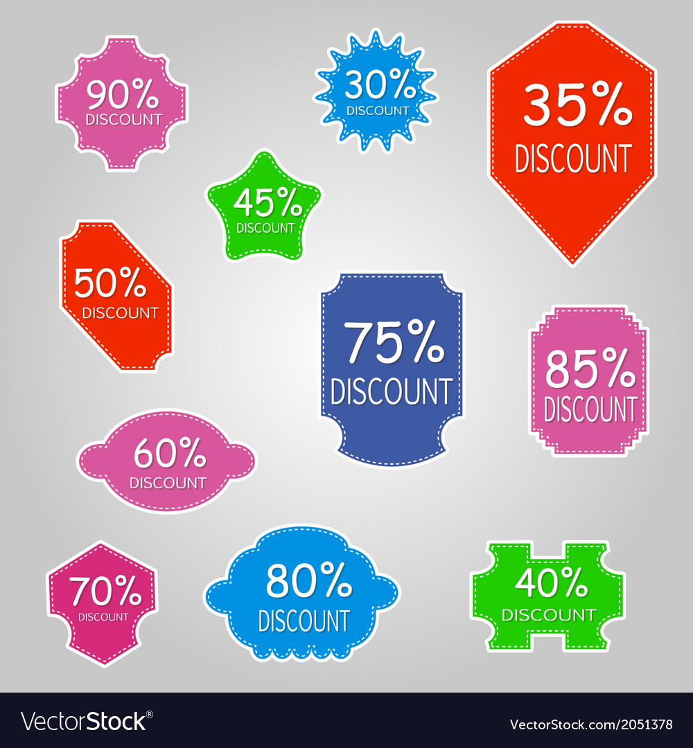 Discount labels vector | Price: 1 Credit (USD $1)