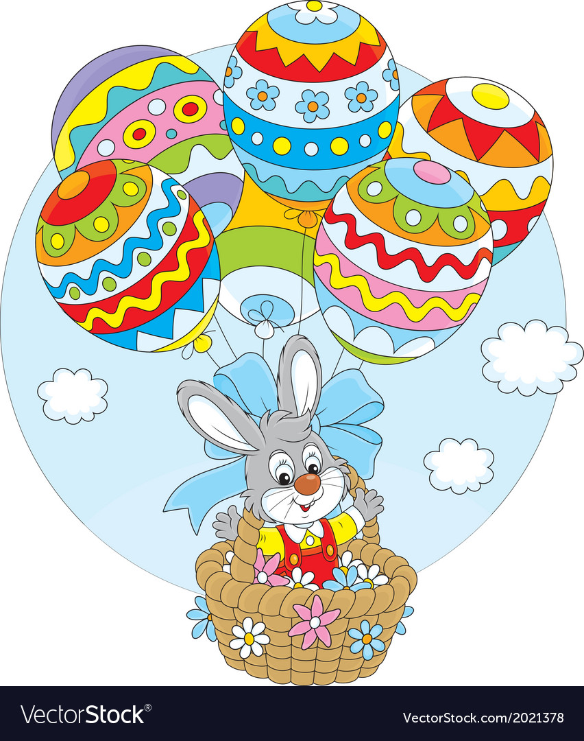 Easter bunny flies with balloons vector | Price: 1 Credit (USD $1)
