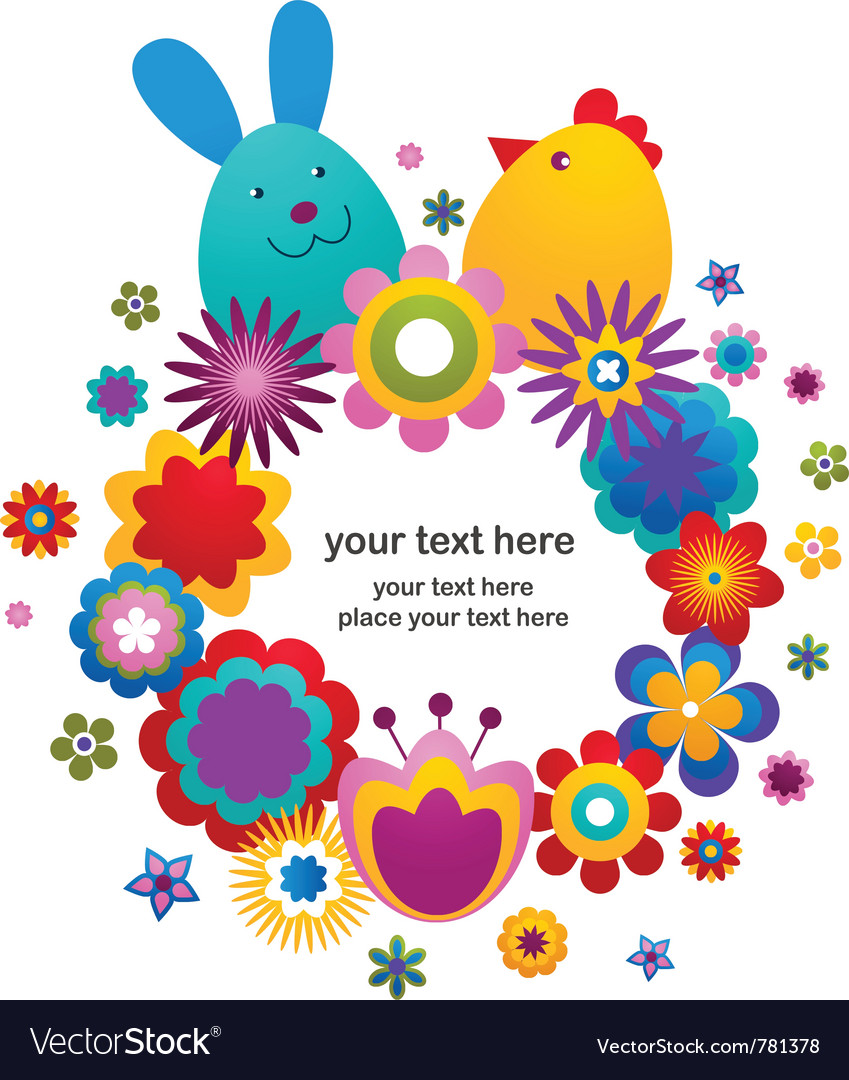 Easter greeting card with bunny and bird vector | Price: 1 Credit (USD $1)
