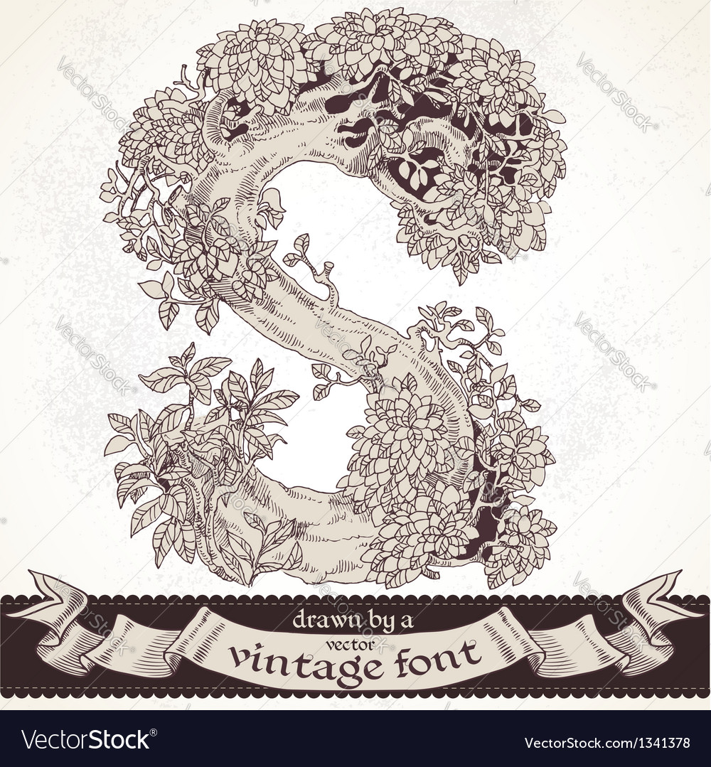 Fable forest hand drawn by a vintage font - s vector | Price: 1 Credit (USD $1)