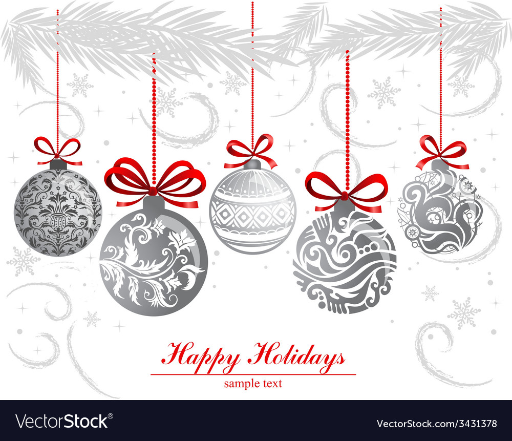 Greeting card with christmas balls vector | Price: 1 Credit (USD $1)