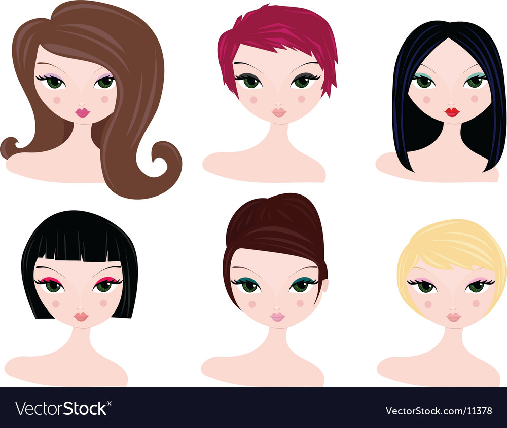 Hairstyles for women vector | Price: 3 Credit (USD $3)