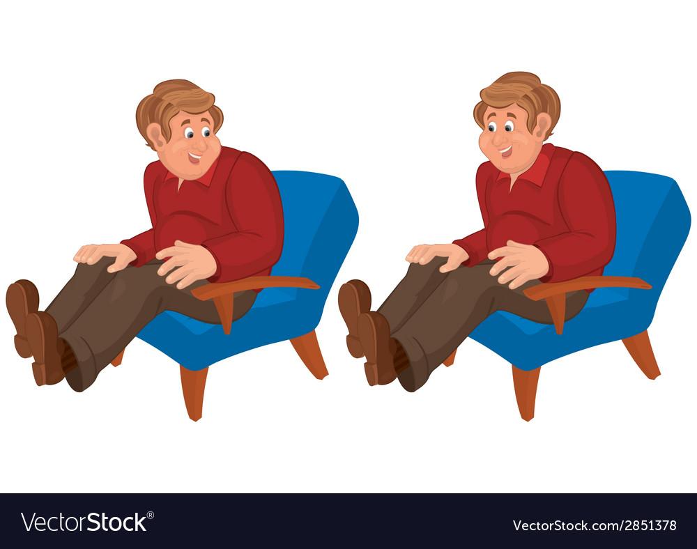 Happy cartoon man sitting in blue chair vector   Price: 1 Credit (USD $1)