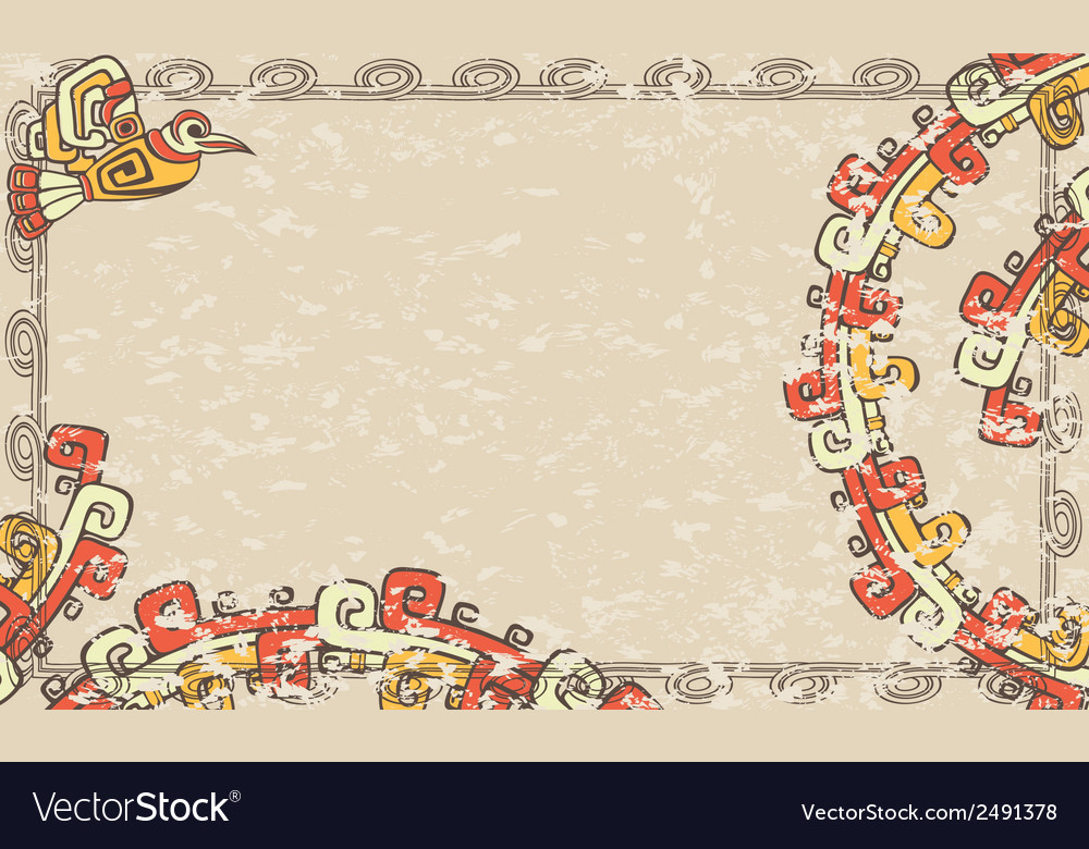Horizontal background in the aztec style vector