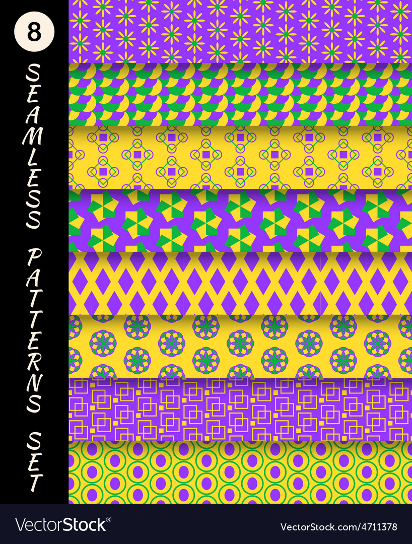 Mardi gras seamless patterns carnival backgrounds vector | Price: 1 Credit (USD $1)