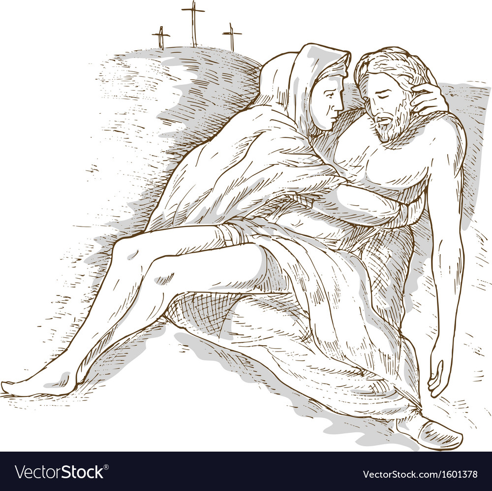 Mother mary and the dead jesus christ with the vector | Price: 1 Credit (USD $1)