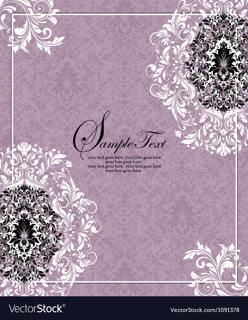 Purple invitation card design vector | Price: 1 Credit (USD $1)