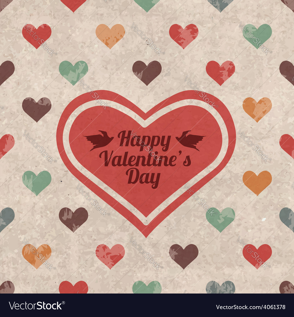 Retro valentines day greeting card vector | Price: 1 Credit (USD $1)