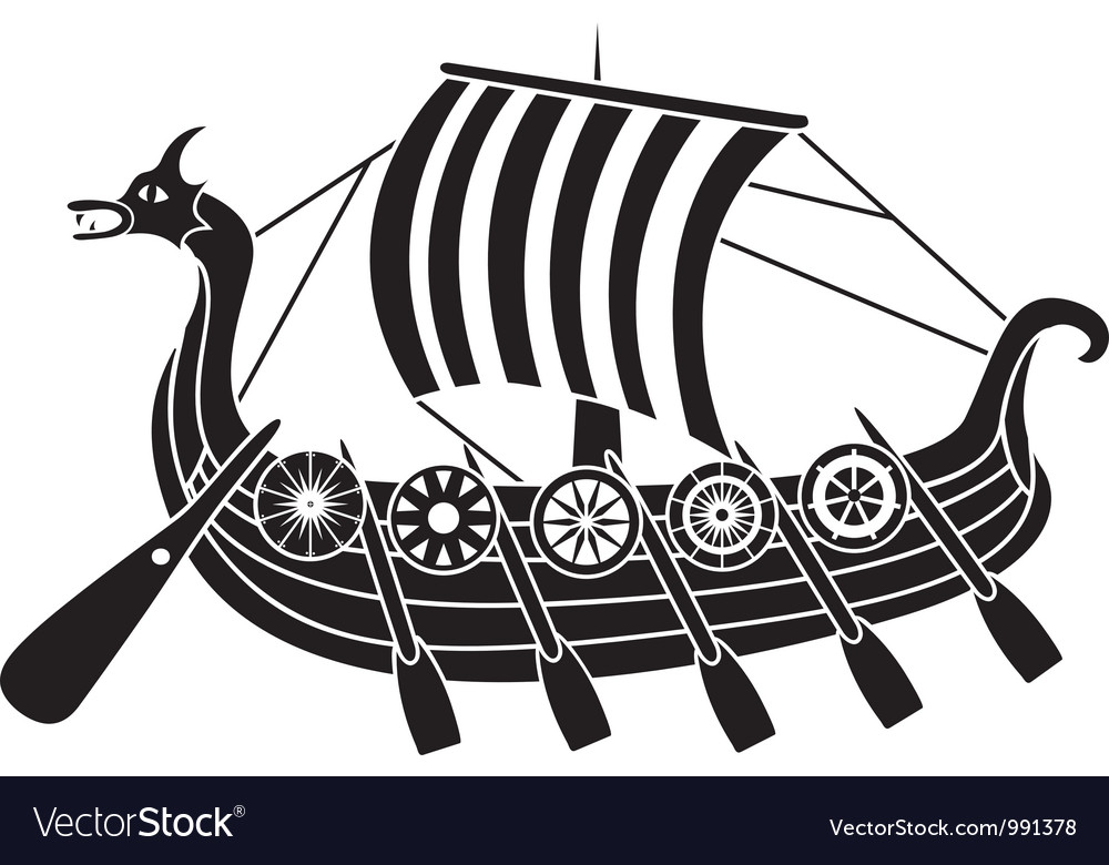 Vikings boat stencil vector | Price: 1 Credit (USD $1)