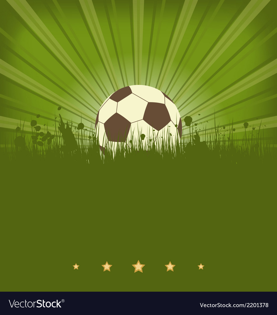 Vintage football card with ball in grass vector | Price: 1 Credit (USD $1)
