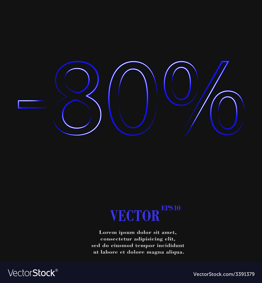 80 percent discount icon symbol flat modern web vector | Price: 1 Credit (USD $1)