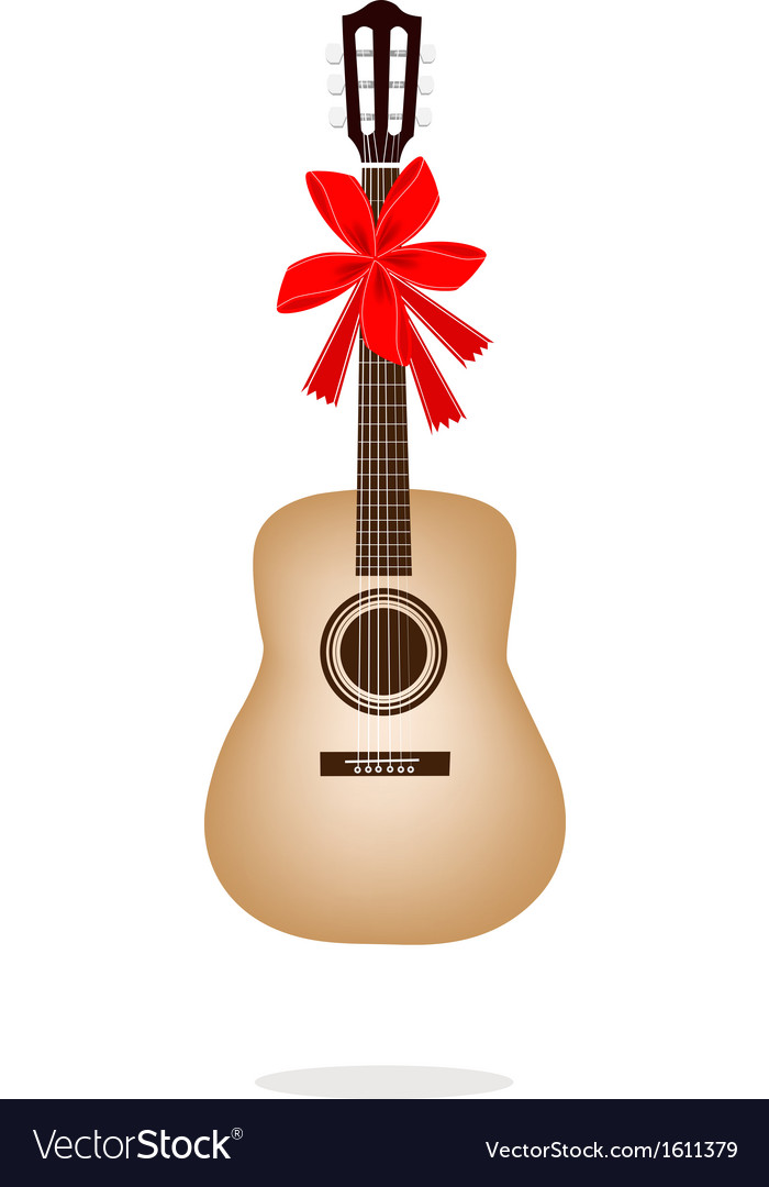 A beautiful classical guitar with red ribbon vector | Price: 1 Credit (USD $1)