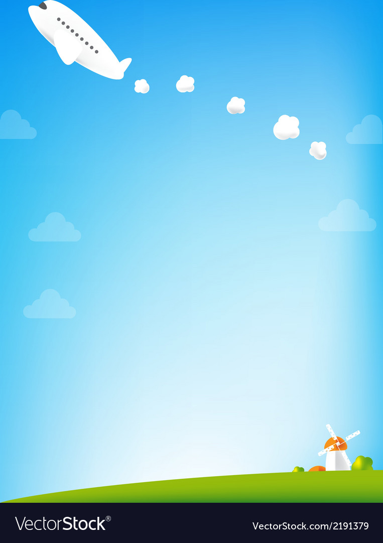 Airplane and blue sky background vector | Price: 1 Credit (USD $1)