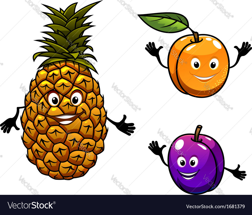 Apricot pineapple and plum fruits vector | Price: 1 Credit (USD $1)
