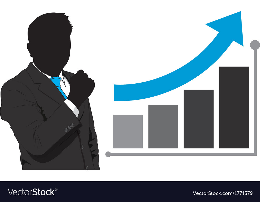Business man and graph growth vector | Price: 1 Credit (USD $1)