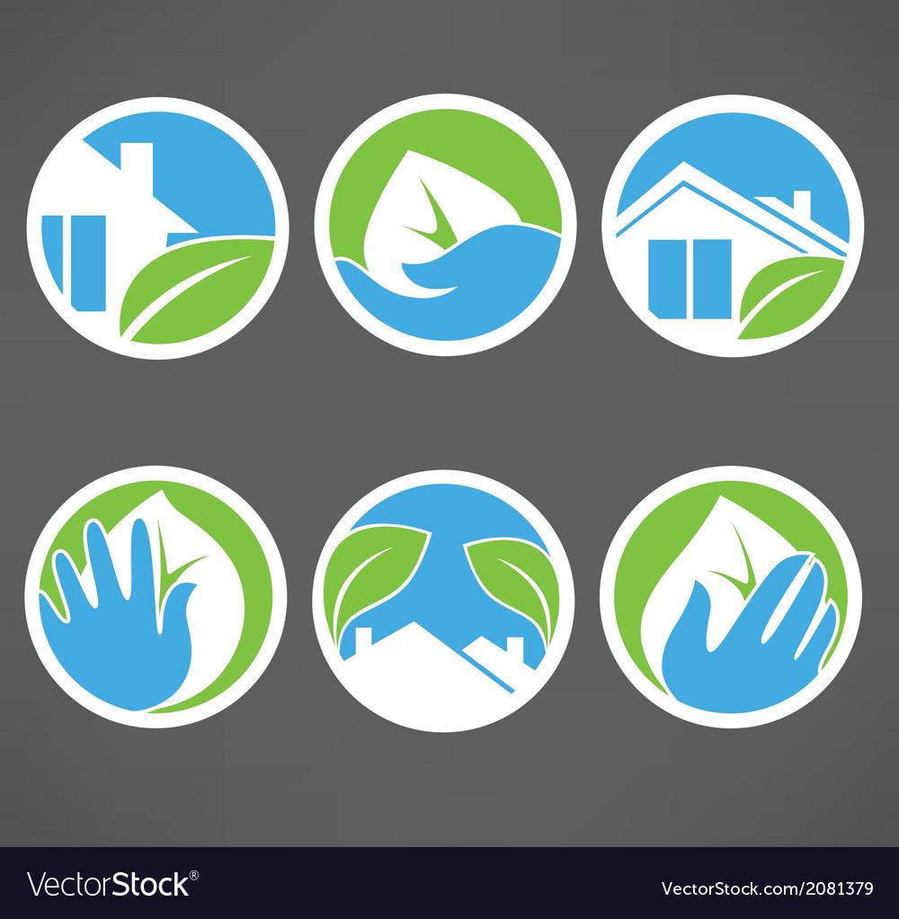 Eco homes vector | Price: 1 Credit (USD $1)