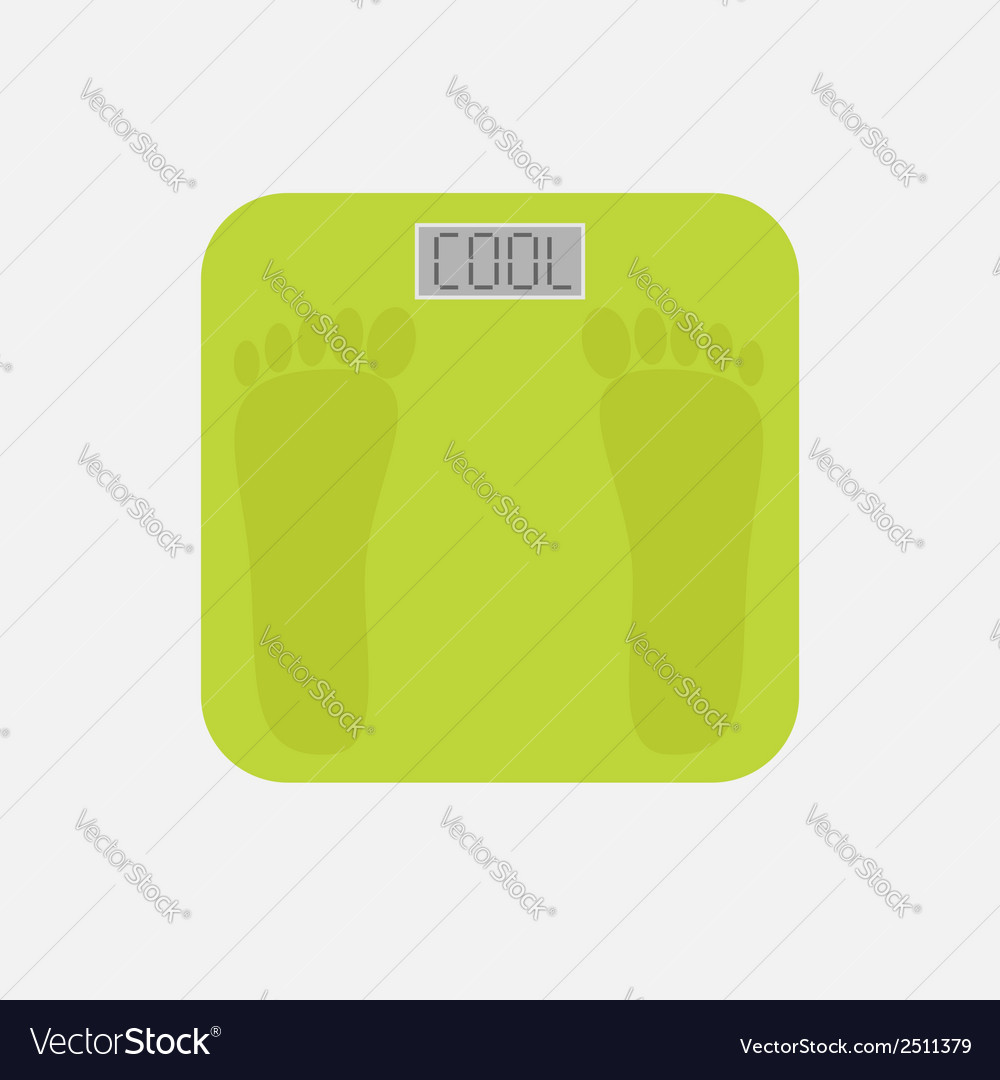 Electronic weight scale with word cool flat vector | Price: 1 Credit (USD $1)
