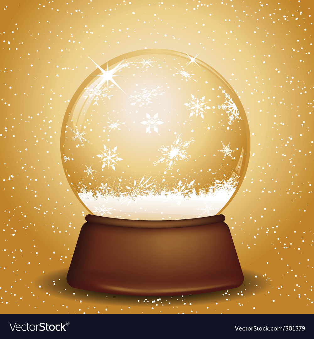 Golden snow globe vector | Price: 1 Credit (USD $1)