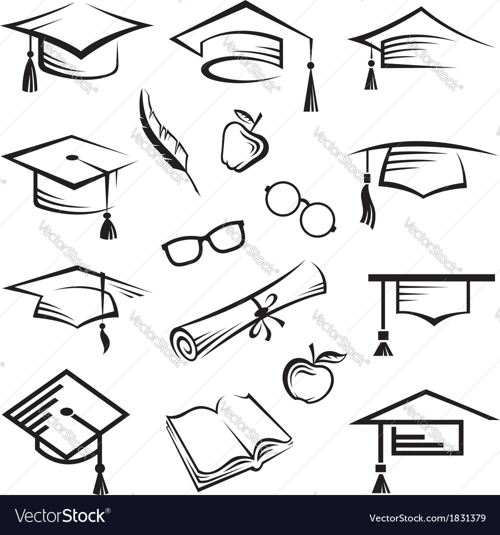 Graduation caps vector | Price: 1 Credit (USD $1)
