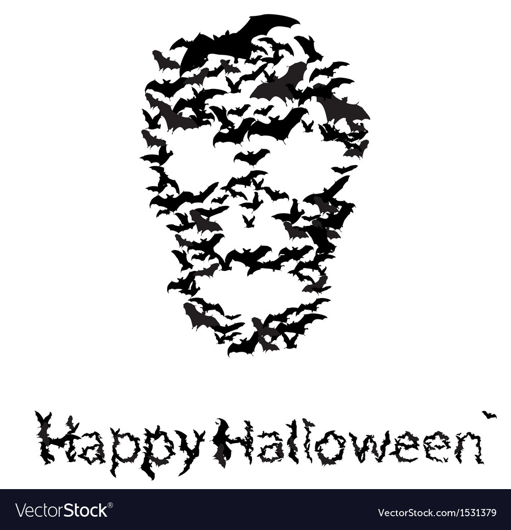 Halloween vecrot card skull shape of bats vector | Price: 1 Credit (USD $1)