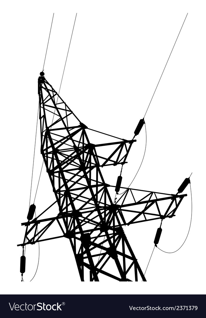 High voltage power lines and pylon vector | Price: 1 Credit (USD $1)