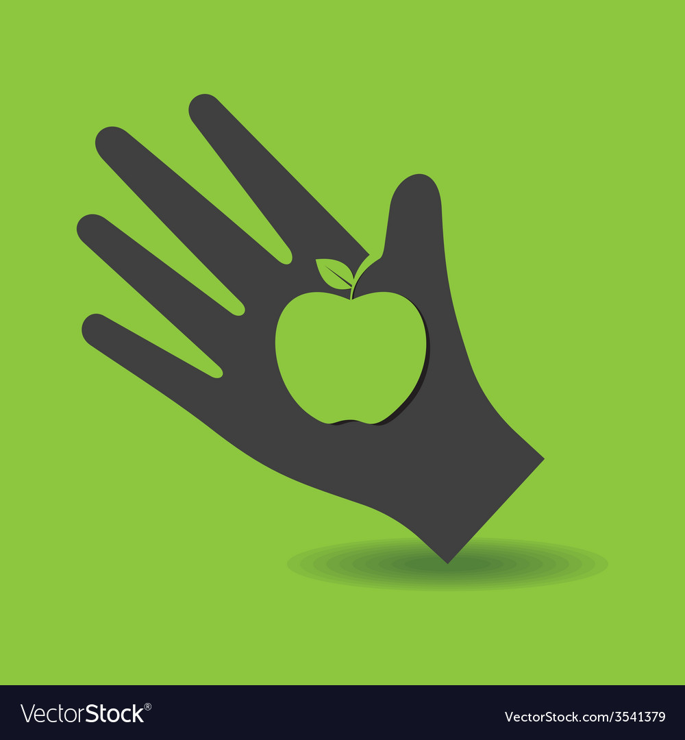 Human hand with apple symbol concept vector | Price: 1 Credit (USD $1)