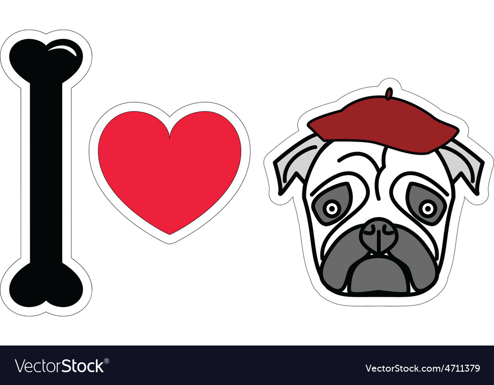 I love pug with beret vector | Price: 1 Credit (USD $1)