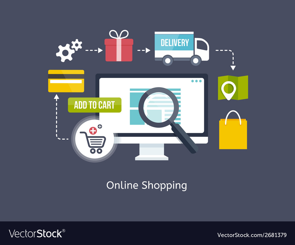 Online shopping process infographic vector | Price: 1 Credit (USD $1)