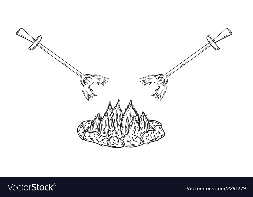 Sausages on fire vector | Price: 1 Credit (USD $1)