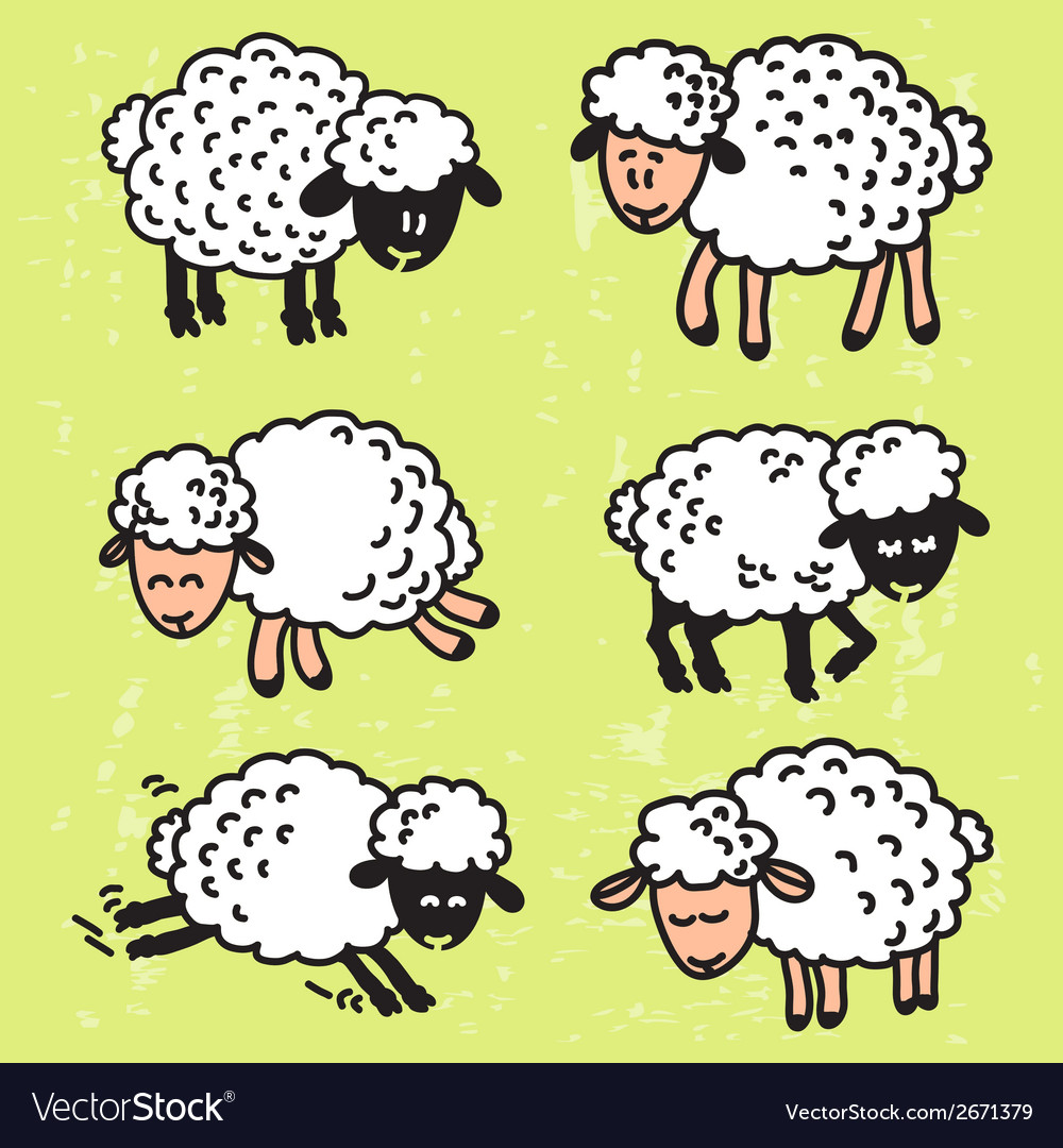 Set with cute sheep eps10 vector | Price: 1 Credit (USD $1)