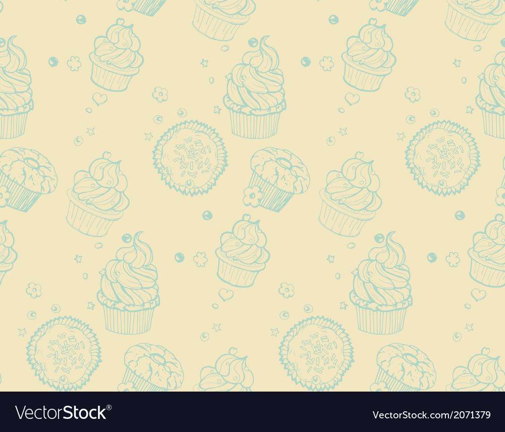 Tasty hand drawn seamless cupcake pattern vector | Price: 1 Credit (USD $1)