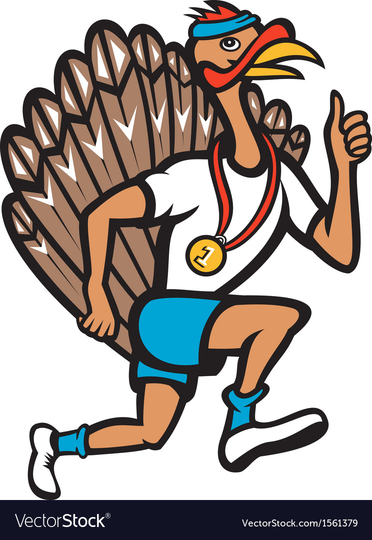 Turkey run runner thumb up cartoon vector | Price: 1 Credit (USD $1)