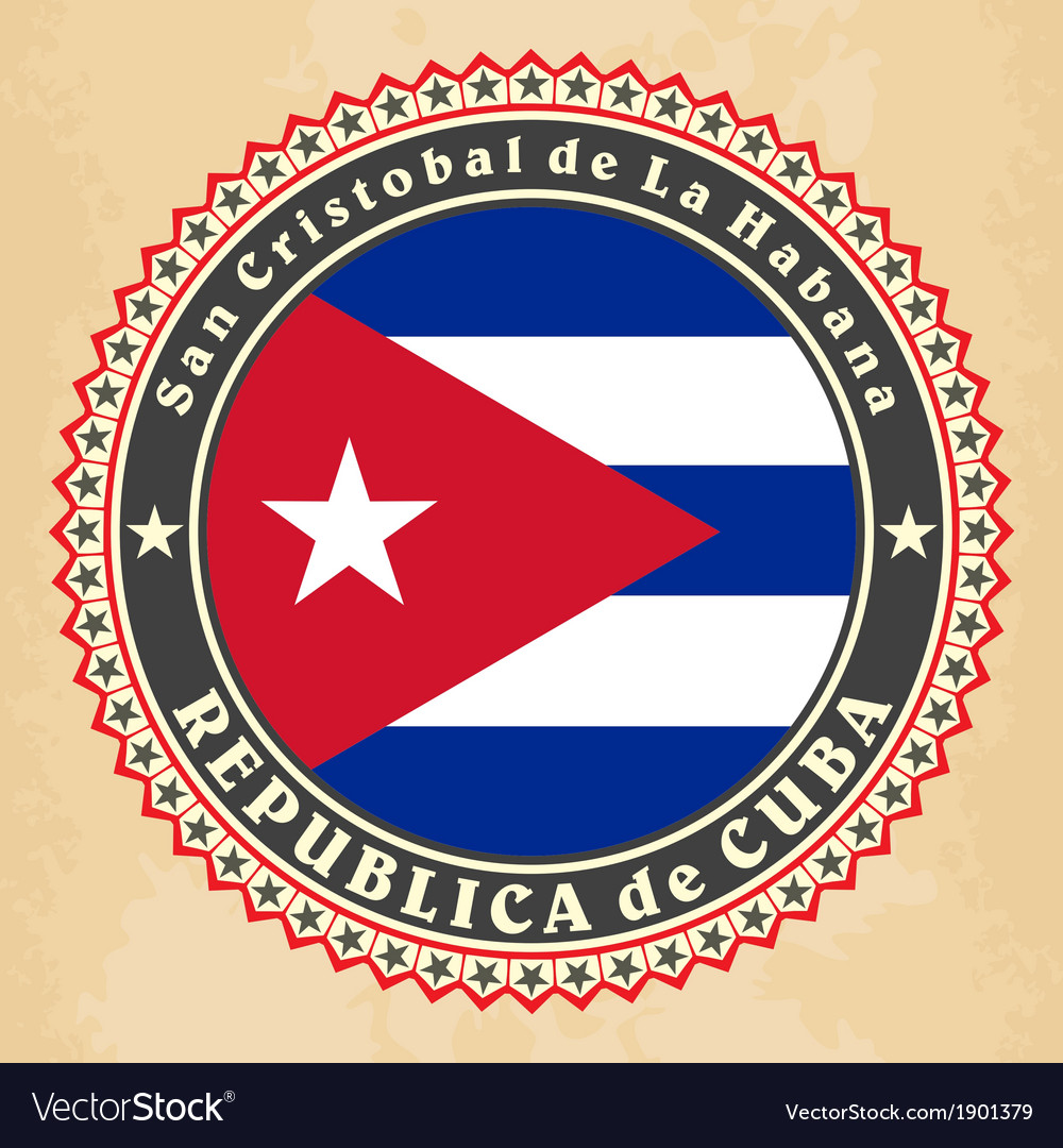 Vintage label cards of cuba flag vector | Price: 1 Credit (USD $1)