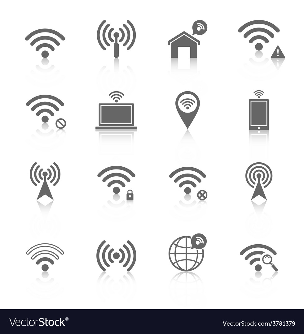 Wi-fi icons set vector | Price: 1 Credit (USD $1)