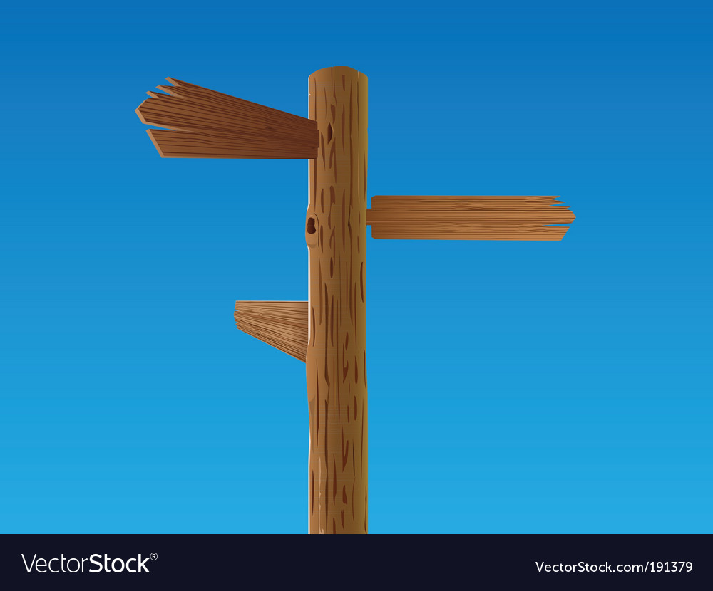 Wooden crossroad sign vector | Price: 1 Credit (USD $1)