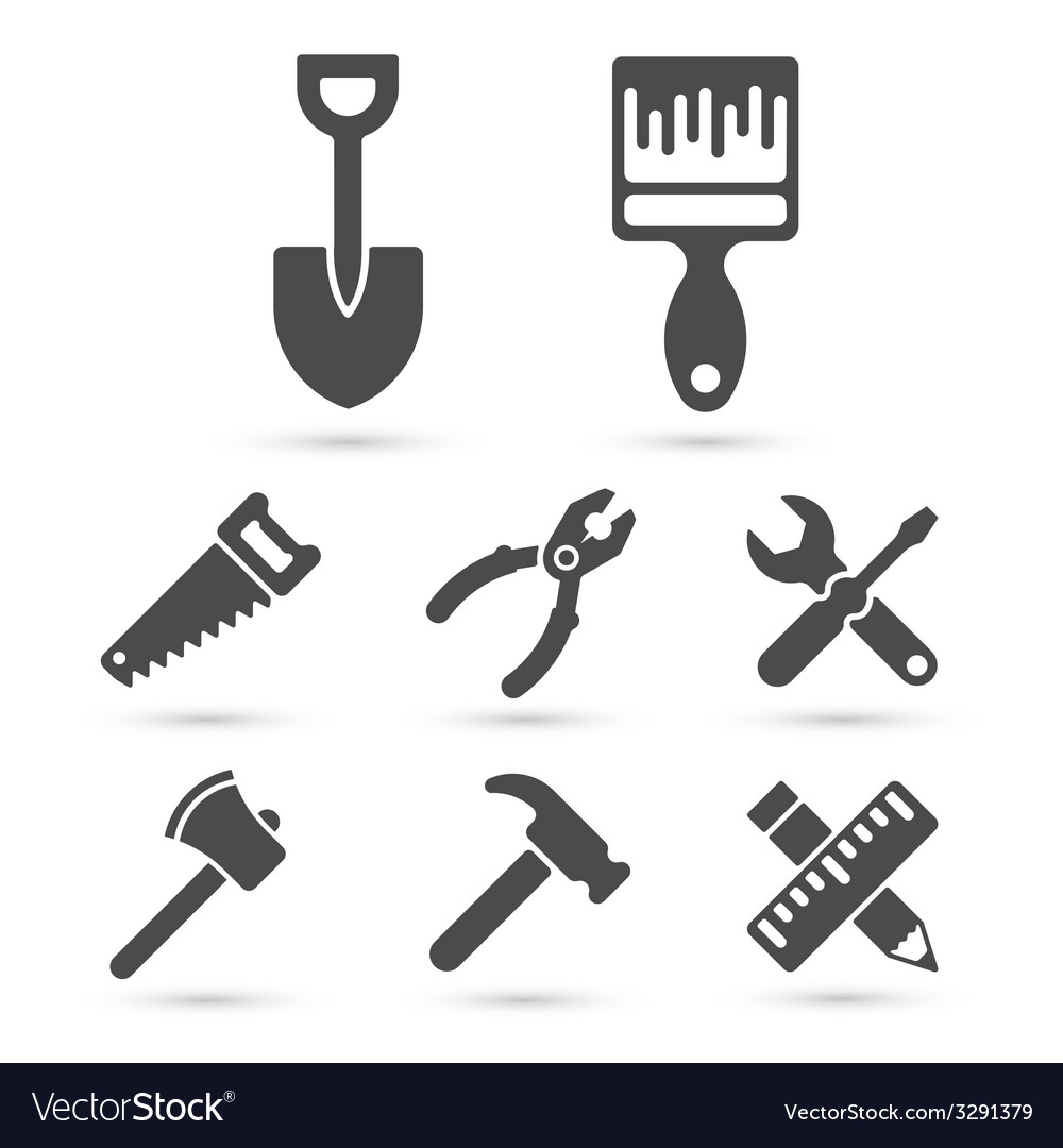 Working tool icons on white elements vector | Price: 1 Credit (USD $1)