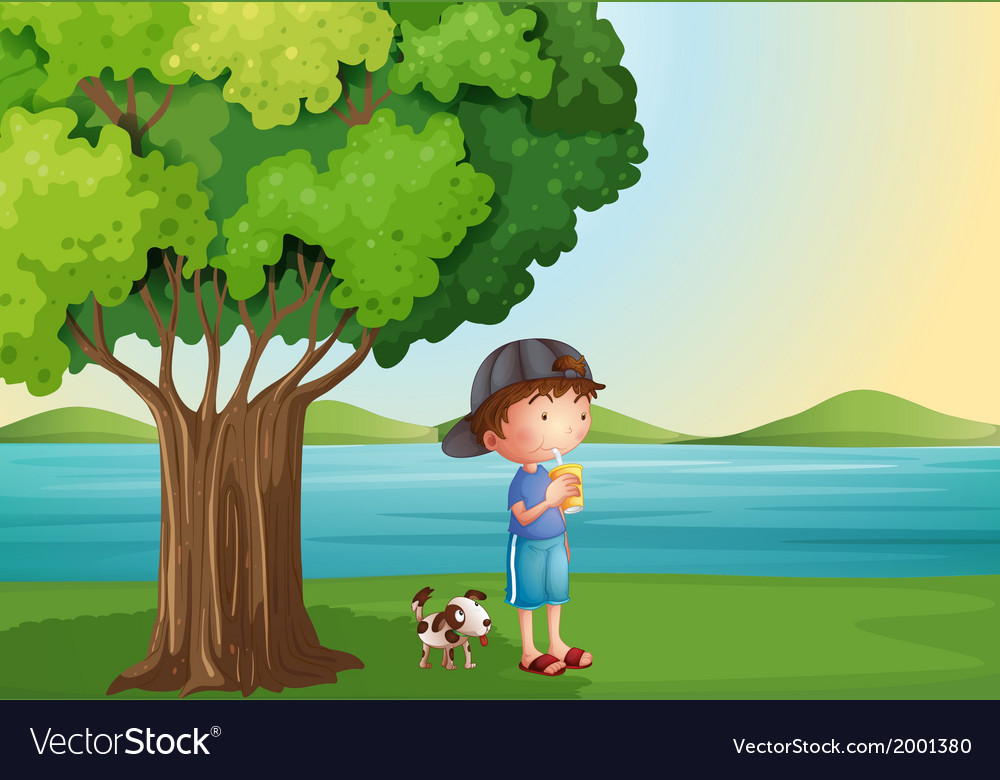 A young boy and his pet under the tree vector | Price: 3 Credit (USD $3)