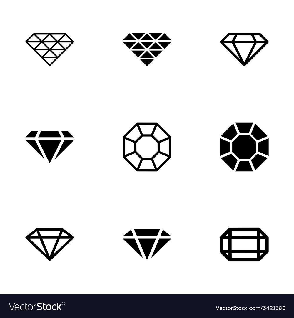 Black diamond icon set vector | Price: 1 Credit (USD $1)