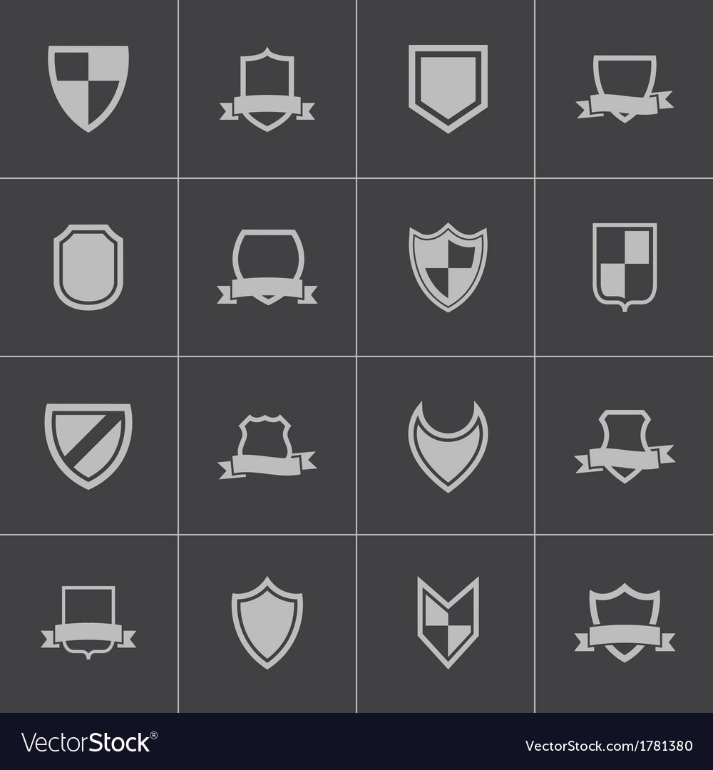 Black icon shield icons set vector | Price: 1 Credit (USD $1)